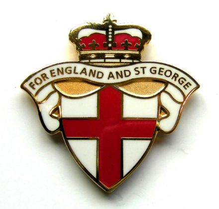 "England Badge ""For England And St George"" - White"